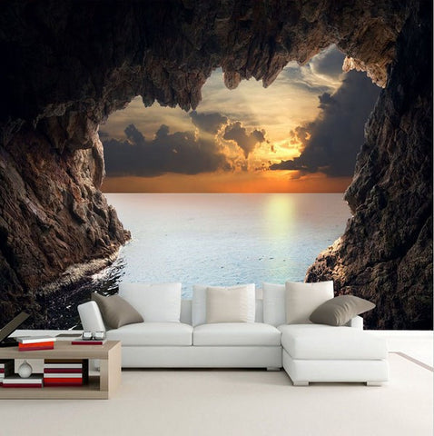 3d custom photo cave opening sunrise sea wallpaper stereoscopic mural. Black Bedroom Furniture Sets. Home Design Ideas