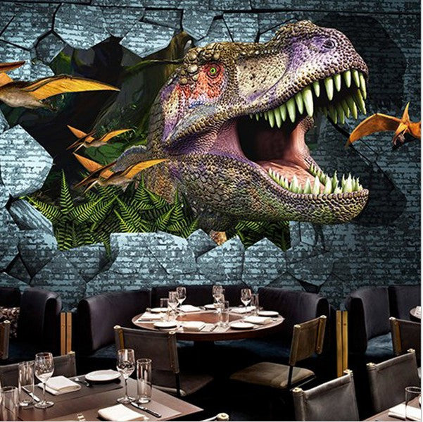 Living Room Art Cafe Social Club Kadıköy: 3D Large Fierce Dinosaur Wallpaper For Home Or Business