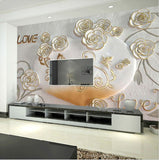 3d white gold rim flower wallpaper
