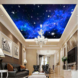 blue evening sky ceiling wallpaper