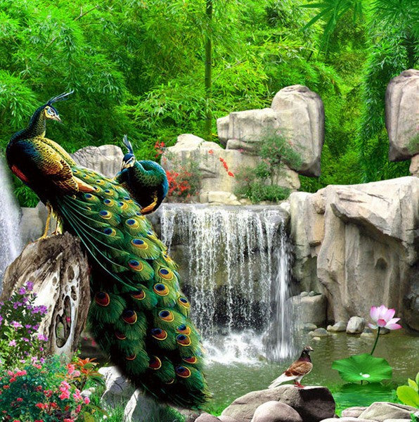 3d Peacock Birds Forest Rocks Waterfall Scene Wallpaper