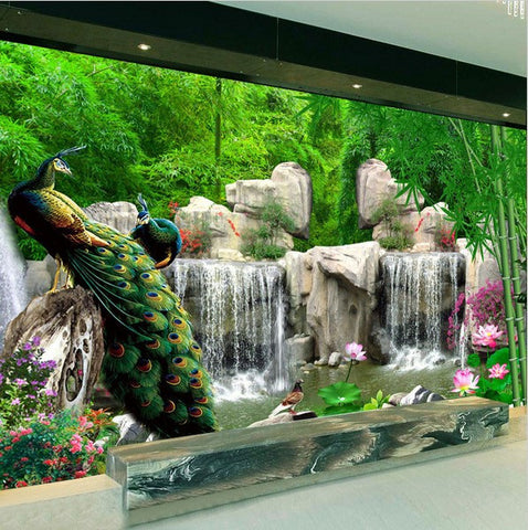 3d Peacock Forest Waterfall Design Wallpaper for Home or Business