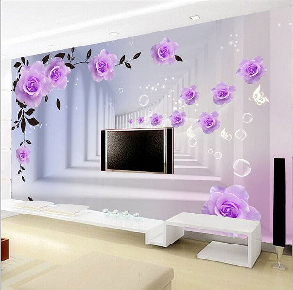 3D Purple Roses Wallpaper Optical Illusion Background