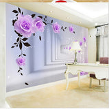 wall mural purple roses