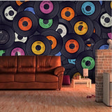 vinyl record collage wall mural