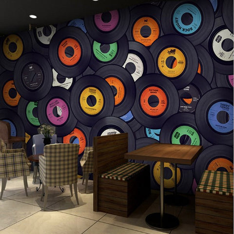 vinyl record collage wallpaper