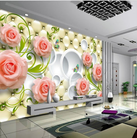 3d Pink Roses On Leather Background Custom Photo Wall
