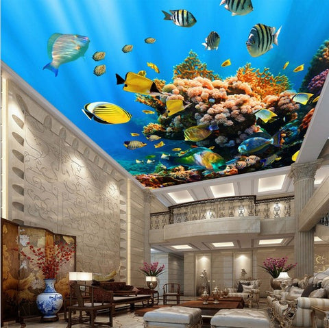underwater fish ceiling wallpaper