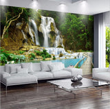 3d forest waterfall pool wallpaper