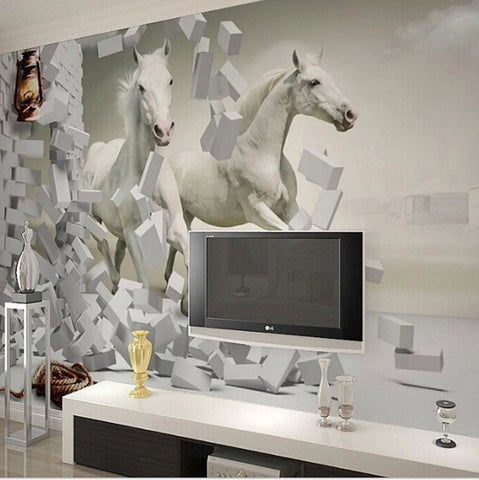 wallpaper white horses