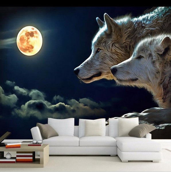 3D Night Moon Wolf Pair Wallpaper For Walls Wolves
