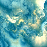 light blue clouds abstract mural
