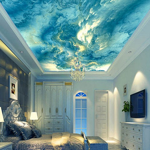 Light Blue Clouds Abstract Design Ceiling Wallpaper Home Or