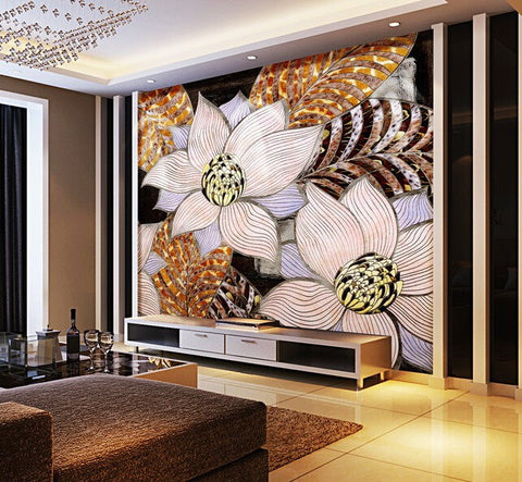 abstract flowers wall mural