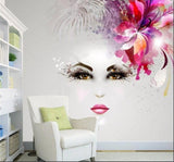 artistic design beautiful woman face mural