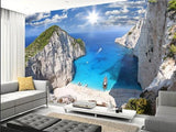 Greek beach cliff wall mural