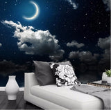 night sky stars crescent moon wallpaper