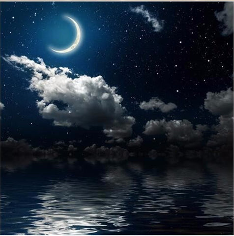 crescent moon lake wall mural