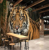 orange tiger forest wall mural
