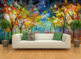 abstract trees mural