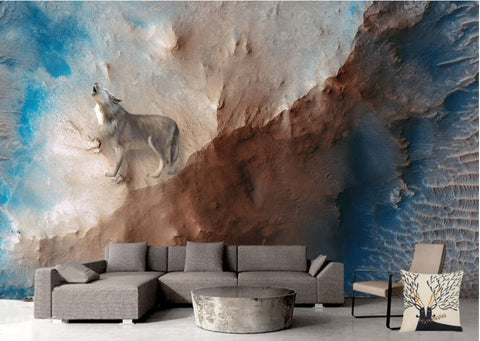 abstract wolf wall mural