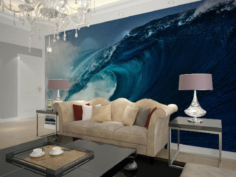 large sea wave mural