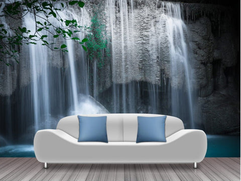 forest waterfall mural