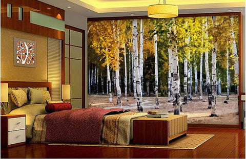 white birch trees wallpaper