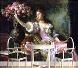 classical European oil painting lady mural