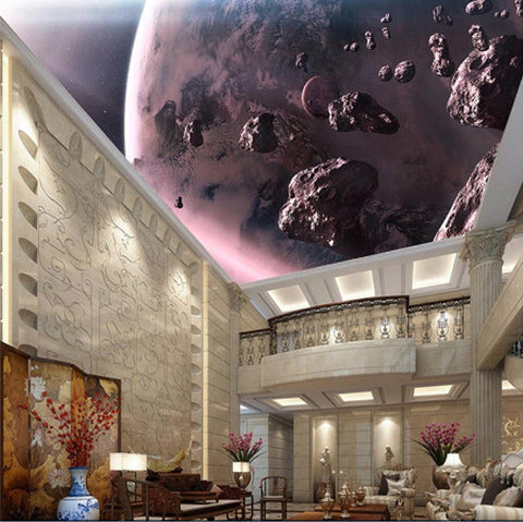 large planet and asteroids ceiling mural
