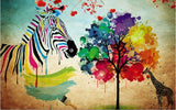abstract zebra painting wall mural