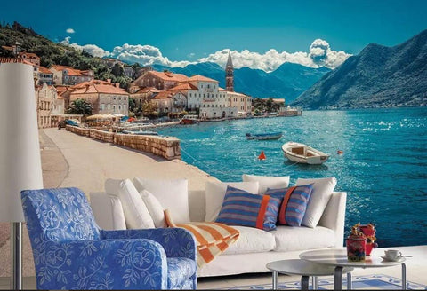 European seaside town wall mural