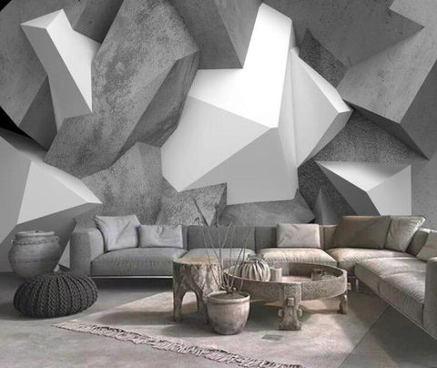 geometric shapes cement wall mural