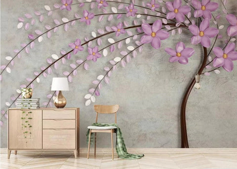 purple flower tree wall mural