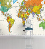 color world map wall mural