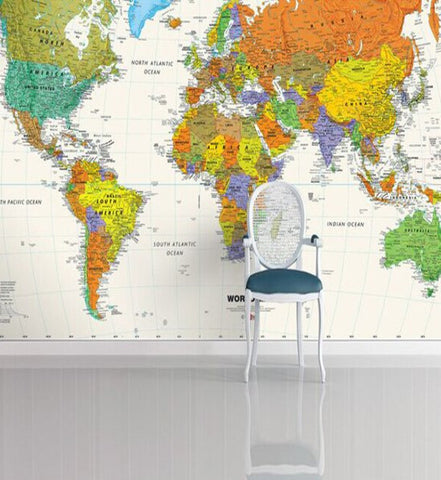 Colorful world map design wallpaper for walls custom embossed mural world map wall paper color world map wall mural color world map wallpaper gumiabroncs Images
