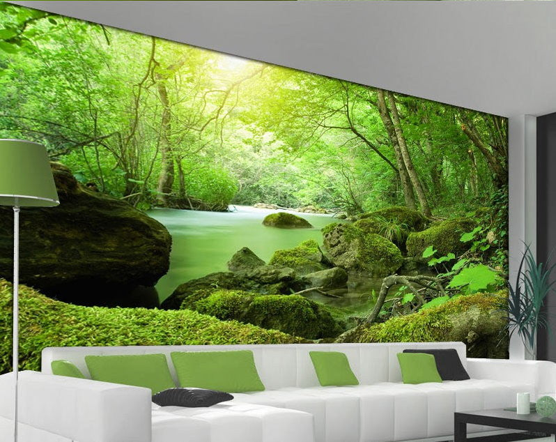 3d Green Forest Wallpaper For Walls Nature Landscape Wall