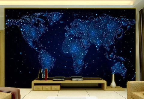 world map stars design mural
