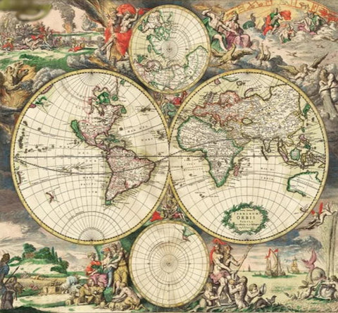 Colorful Old Style World Map Wallpaper Retro Mural Home Or