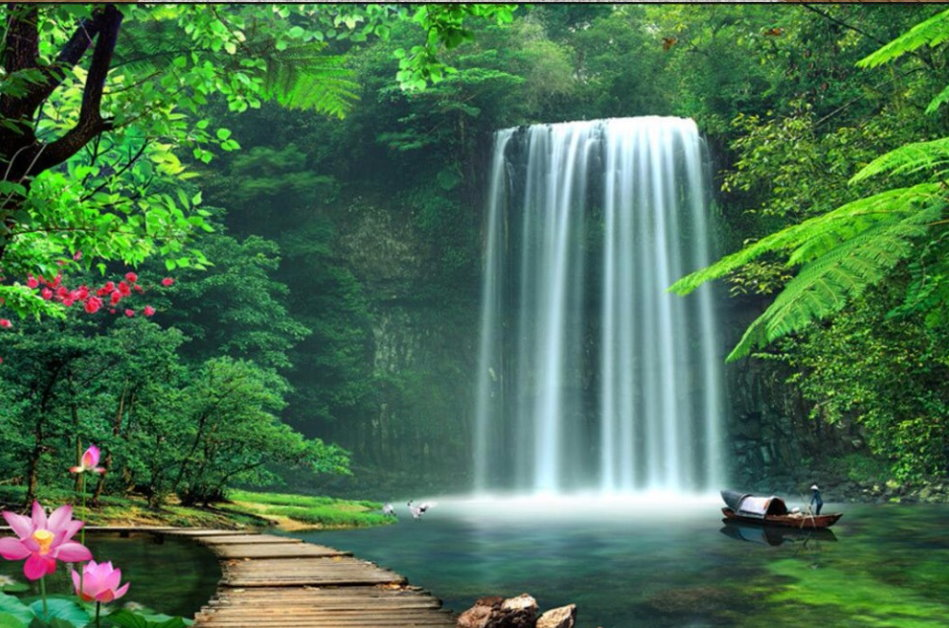 3d Oriental Forest Lake With Waterfall Design Wallpaper
