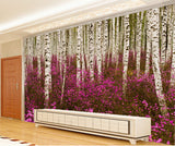 white birch tree forest wall mural