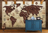 coffee bean world map wall mural
