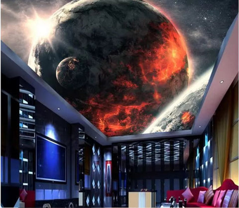 large planet ceiling wall mural