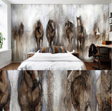 retro abstract horses mural