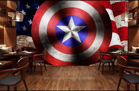 Captain America shield wall mural