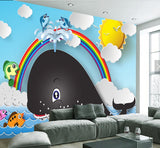 cartoon whale wall mural