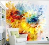 watercolor painting abstract sunflowers mural