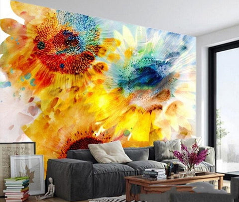 abstract sunflowers wall mural