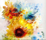 Abstract Watercolor Sunflowers Retro Design Wallpaper Mural