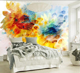 abstract colors sunflowers wall mural